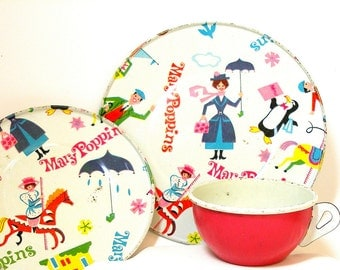 60's Mary Poppins, Storybook Tin Toy Tea setting with 3 pieces by J Chein & Walt Disney.