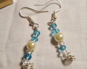 Delicate Aqua Blue and White Earrings