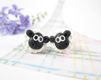 Sheep earrings, sheep stud earrings, animal earrings, knitters gift, polymer clay, cute earrings, lamb, sheep jewelry, miniature animal
