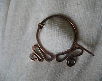 Pennular Circle, Copper Pin, Penannular, Brooch, Fibula, Scarf Pin, Shawl Pin, Celtic Pin Closure