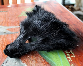 CRAFT QUALITY shaped black dyed raccoon face for crafts, taxidermy practice, display, more DESTASH