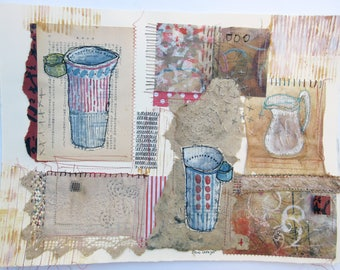 Vessels and Voices ~ original stitch collage on paper