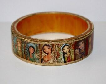Madonnas - Jesus -  Original Wooden Bangle - Extra Large XL -  Folk Art by FLOR LARIOS
