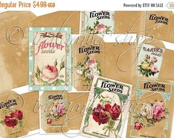 SALE SEED PACKETS Collage Digital Images -printable download file-