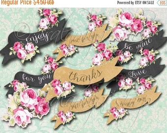 SALE BANNERS and FLOWERS collage Digital Images  -printable download file- Digital Collage Sheet Vintage Paper Scrapbook