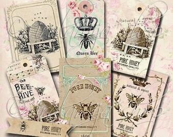 SALE QUEEN BEE Collage Digital Images -printable download file- Scrapbook Printable Sheet