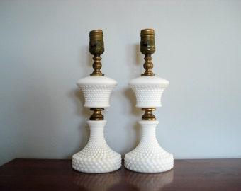 Elegant hobnail table lamps - pair - white milk glass