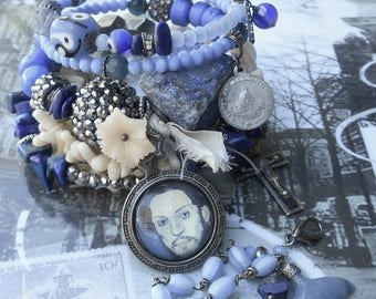 They Call it the Blues Picasso Theme Gemstone Rosary Wrap bracelet