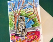 Maine Coon Kitten In The Window, Cat Painting, Hand Painted Cards, Cat Cards, Cat Paintng, Original Watercolor, Cat Art ,Window Art, Cats