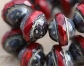 VAMP BLISS .. 10 Premium Picasso Czech Glass Saturn Beads 8x10mm (5509-10)