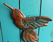 Hummingbird - large copper metal songbird art sculpture - wall hanging - with turquoise blue-green and naturally-aged patina - OOAK