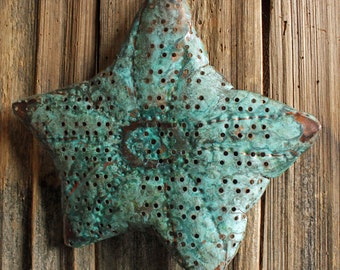Sea Star Starfish - large holey copper metal sea life art sculpture - wall hanging - with turquoise blue-green patina - OOAK