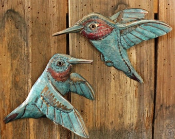 Hummingbird Pair - copper metal flying songbird art sculptures - wall hanging - turquoise blue and iridescent red-orange patinas - OOAK