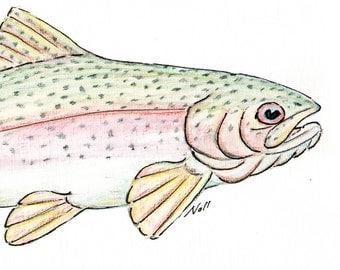 8x10 Rainbow Trout Art Print, Printable Fish Art, Freshwater Gamefish Poster, Printable Wall Art, Home Decor, Instant Digital Download