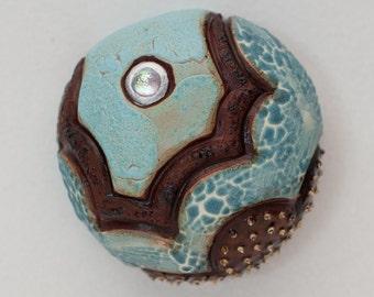 Mini Ceramic Sculpture - Abstract Sea Urchin, wall decor, wall hanging (L-03)