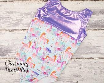 NEW Girls Leotard, Gymnastics Leotard, Tumbling Dance Cheer Sparkly Glitter Print Rainbow Unicorn Leotard by Charming Necessities - Purple