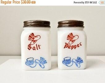 Sale Patriotic Salt & Pepper, Uncle Sam Hat, Red White Blue, Fourth of July