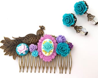 Peacock Wedding Comb Earring Set Blue Purple Hochzeit Cameo Prom Bridesmaid Formal Party Fest Bird Offbeat Bride Bridal Party Special Event