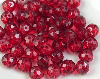 Glass Bead 12 Red Rondelle Faceted 10mm x 7mm (1014gla10r2)