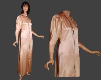 1940s Hostess Gown Satin Lounging Dress Vintage Peach Small Medium