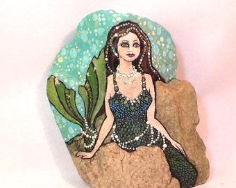 MERMAID ROCK hand painted rock, pearls and polka dots, ocean art.