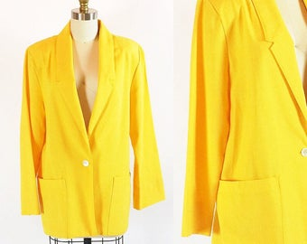 Vintage 80s Honey Mustard Blazer | Size 12 | Medium