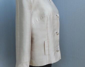 Vintage 1960s Silk Cropped Jacket, George Brown Originals of California, Shiny Beige