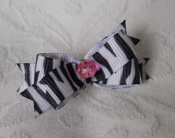 DOG BOW-  Crackle Pink Zebra Pearl Mini Boutique Dog Bow