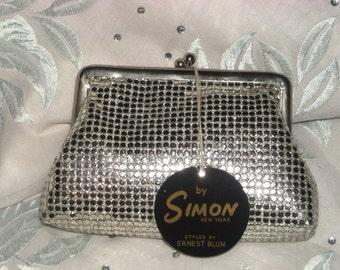 SIMON MESH BAG, Ernest Blum for Simon Change Purse Nu-Mesh Bag, Wedding Purse