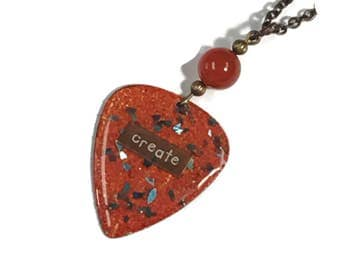 Guitar Pick Necklace CREATE embedded in red with turquoise glass glitter Accents, Long Layering Necklace