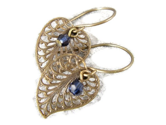 Antique brass filigree earrings with Sapphire Blue  or choose color crystal accent