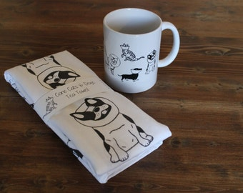 Tea Towel and Mug Gift Set / Veterinarian Gifts / Cats and Dogs Mug / Cats and Dogs Tea Towel / Veterinarian Gift Mug and Tea Towel Set