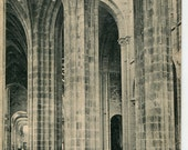 Set of 2 French vintage postcards, Abby du Mont Saint-Michel, real photo postcard, French Churches