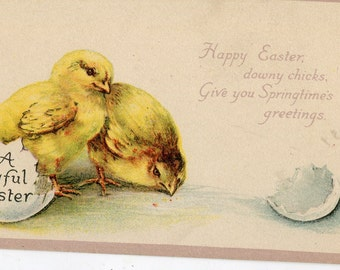 Easter  Postcard, chick breaks free from shell vintage postcard