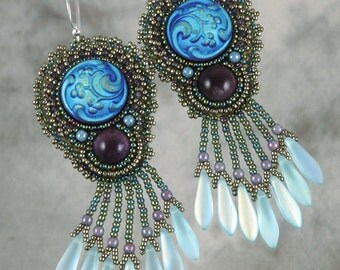 Frosty Blue Czech Glass Button and Amethyst Bead Embroidered Earrings