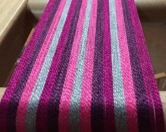 Weaving kit-towels, table runner, placemats-Floor loom-Handwoven- raspberry and purple stripes-Handmade-Rigid heddle loom