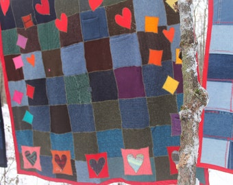 Recycled Sweater Blanket, Wool Blanket, Hearts, Throw Blanket, Handmade Blanket, Sweater Quilt, Jeweltone, Couch Blanket, Crispina Blanket