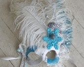 Queen Frostine - Winter Masquerade Mask in White, Ivory, Silver, and Icy Turquoise