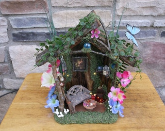 Fairy Play House Little Home in the forest with LED white lights