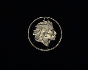 COLOMBIA - cut coin pendant - w/ Head of Chief Calarca - 1953