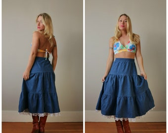 1980s Denim Ruffle Prairie Skirt >>> Size Extra Small to Small