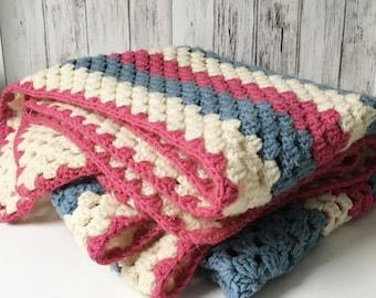 Afghan Hand Crocheted Blanket Pink blue Blanket 1970s Blanket Decorative Blanket