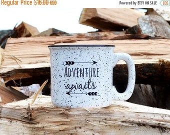 SALE Coffee Mug Camping Mug Stoneware Mug 15oz Mug Ceramic Mug Adventure Awaits Mug Coffee Cup Campfire Mug Cocoa Cup