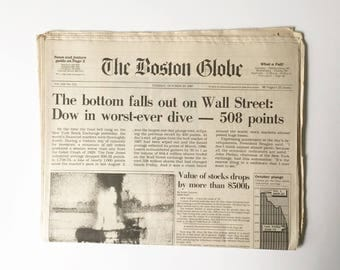Stock Market Crash Newspaper 1987 Complete Newspaper Historical Newspaper Collectible Newspaper New York Times