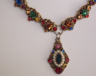 FREE SHIPPING - Vintage Multi colored Rhinestone necklace