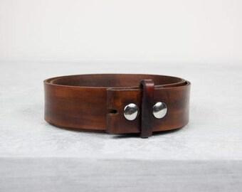 "Handmade Brown Leather Belt - 1.5"" Snap Belt"