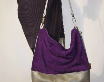 WINTER 2016 | Bright Purple Velour Deluxe Over the shoulder and Crossbody Handbag
