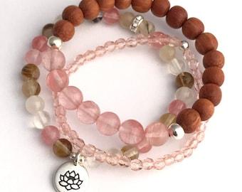 stack mala bracelet set pink cherry quarts lotus charm stretch bracelets, bracelet set, pink bracelet, yoga jewelry, lotus charm, beaded