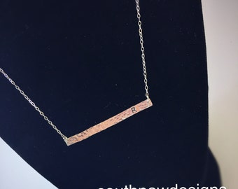 Sterling silver bar necklace - hidden message on back - customizable