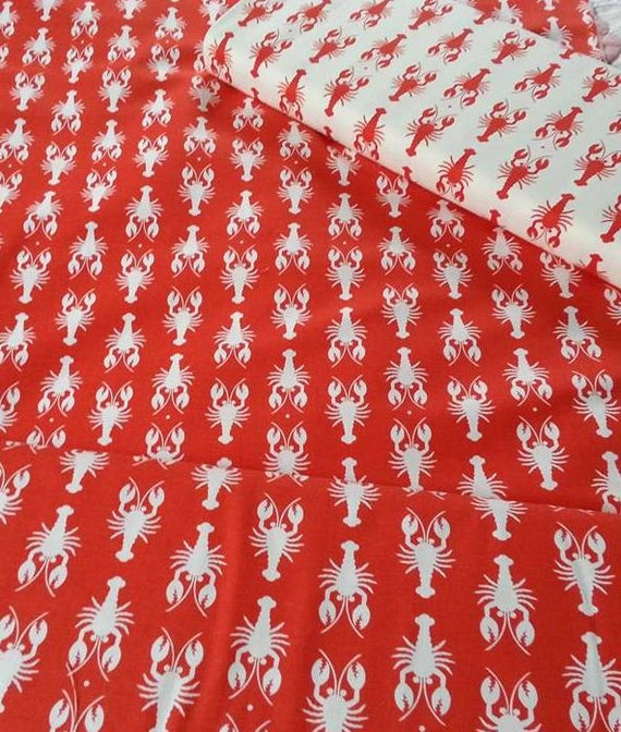 Lobster print home decor fabric cotton duck 55 56 for Decor 55 fabric